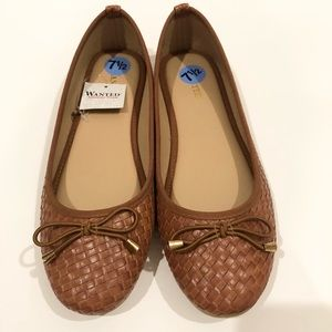 Wanted Brown Woven Round Toed Flats 7.5